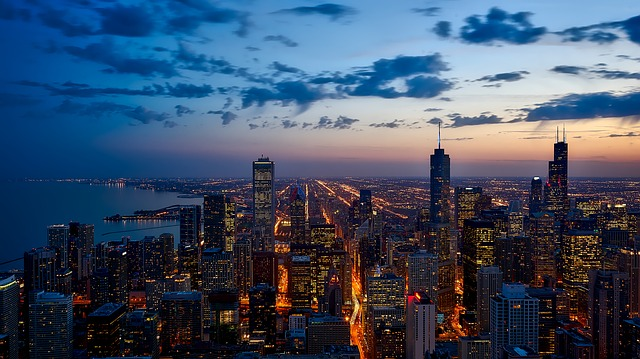 The Chicago Skyline at sunset