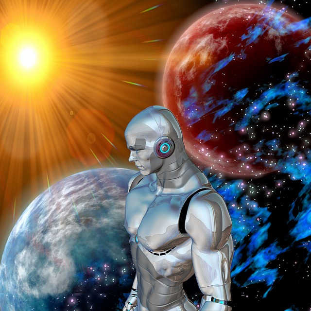 A bionic robot stands beside the Earth as if in power. The sun shines on the robot, the world, and another planet.